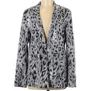 H&M Gray Black Animal Print Blazer Women Size 12